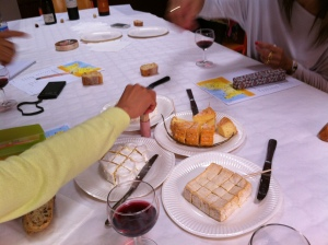 Wine and cheese tasting in French.