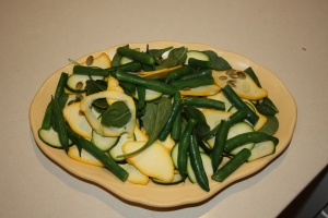 The squash and zucchini salad is tempting and tasty.
